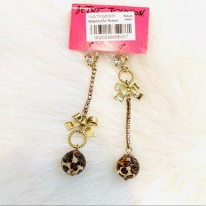 Betsey Johnson leopard crystal dangling earring